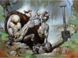 """Gravedigger"" (Coveiro), artista: Dermot Power, arte para Magic the Gathering, Wizards of the Coast)."
