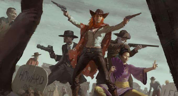 capa de um dos suplementos, no destaque: uma mulher ruiva pistoleira, uma guerreira com inspiração wuxia, um velho com uma espingarda e um pistoleiro negro são emboscados por atormentados num cemitério.