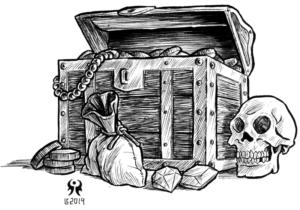 desenho em preto e branco; um baú de tesouro com uma cabeira humana do lado