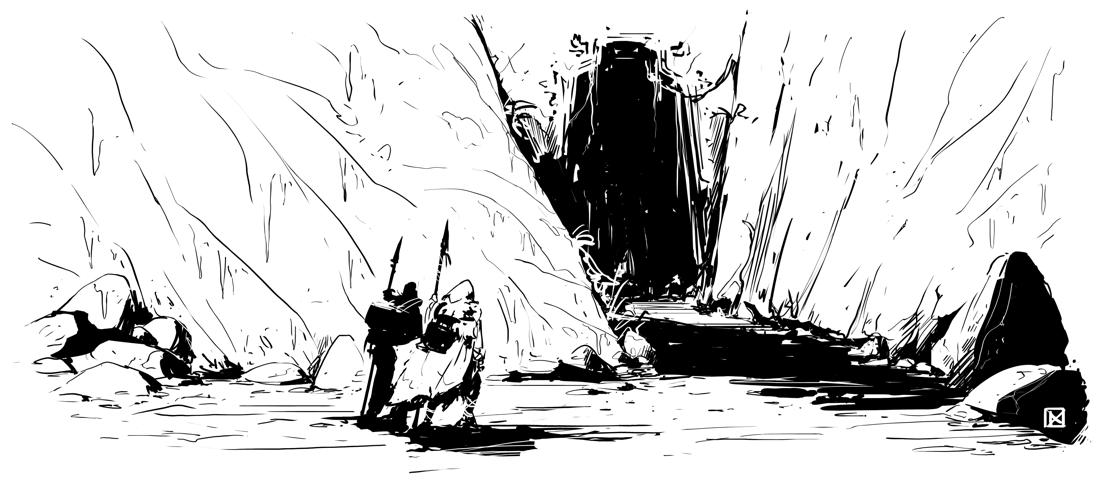 entrada de uma caverna sinistra, em preto e branco com dois viajantes com lanças se aproximando de sua enorme entrada